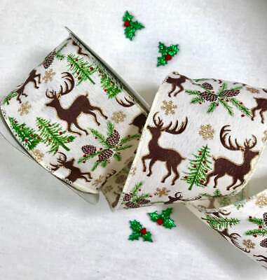 Wired Stag Ribbon Ivory Stag Christmas Wreath Tree Cake Bow Glitter Reindeer