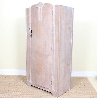 Vintage Art Deco Limed Oak Wardrobe Gents Compactum Wardrobe