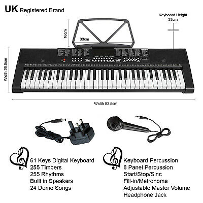 61 Keys Teaching Electronic Keyboard Digital Music Instrument Piano & Microphone