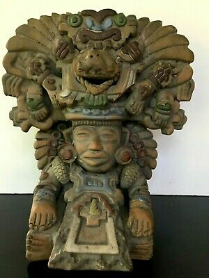 """Vintage Aztec Mayan Clay Detailed Raised Relief Maize God Sculpture 11"""" tall"""