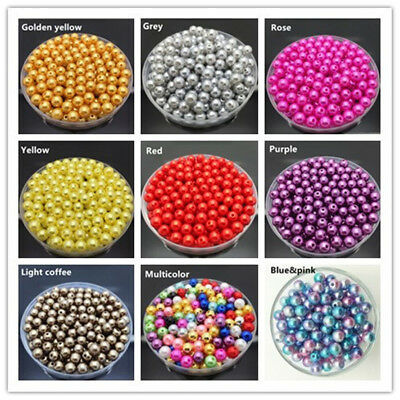 Wholesale 100-2000PC Mixed Color 4-14mm With Hole Round ABS Pearl Acrylic Beads
