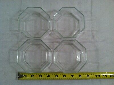 """(4) Arcoroc Bowls France Clear Glass Octagon 8 Sides Approx. 4"""" Diameter"""