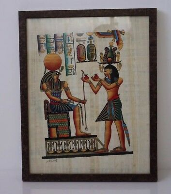 "Handmade Papyrus Egyptian Painting 18""x 14"" W/frame Under Glass"