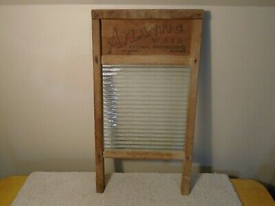 Antique Vintage National Atlantic Washboard No. 510 - (Wood & Ribbed Glass)
