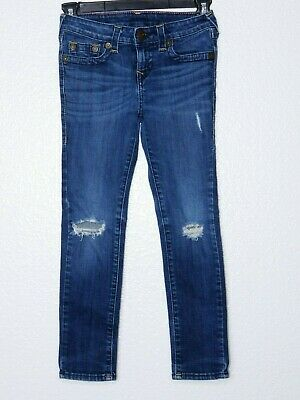 True Religion Girls Kids Casey Single End Jeans 7 Destroyed Distress