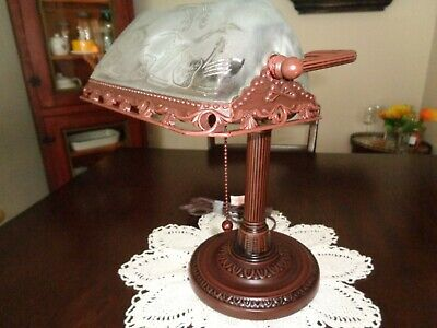 'Antique Look' Bankers Desk Lamp  *Frosted Floral Etched Glass*