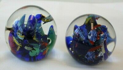 Art Glass Aquarium Tropical Fish Barrier Reef Paperweight Pair Different Scenes