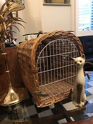 Vintage Large Wicker Pet/Cat Carrier For Two Cats Or Small Dog/Puppy