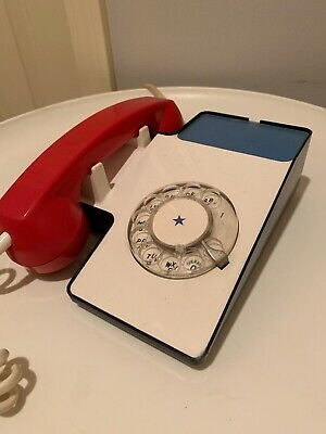 Vintage Red White & Blue Rotary PHONE 1970s Western Electric? Mid Century