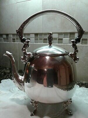 Vintage Silver On Copper Round Tea-Pot Footed With Sheridan Mark