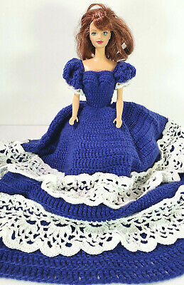 Barbie Blue Dress Hand Made Crochet Gown -Auburn Barbie Collectable Doll 2pc Lot