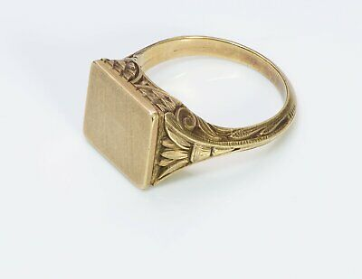 Antique Egyptian Revival Carved Yellow Gold Signet Ring
