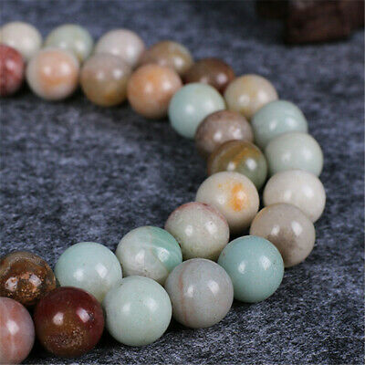 "4-12mm Natural Round Amazonite Loose Beads Diy Accessories 15"" Craft Handmade"
