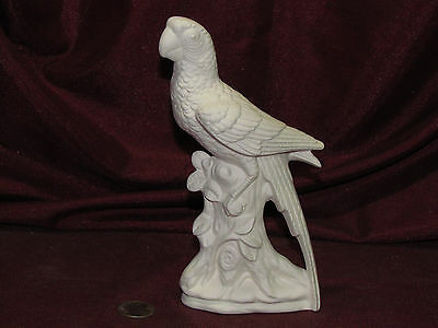 Ceramic Bisque Parrot on Log w/ Leaves U-Paint Unpainted Ready to Paint Bird