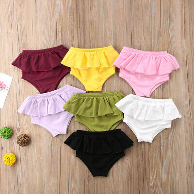 Newborn Baby Girl Ruffle Panties Bottoms Infant Kids Bloomer Diaper Cover Briefs
