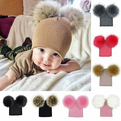 Kids Child Baby Boys Girls Winter Warm Double Fur Pom Bobble Knit Beanie Hat Cap
