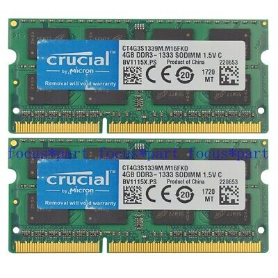 Crucial 8GB Kit for MAC DDR3L-1600 RAM BLOWOUT SALE! PC3-12800 SODIMM 2 x 4GB