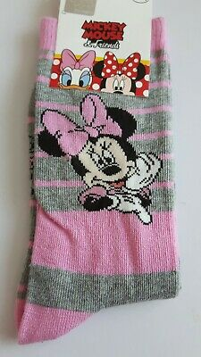 Disney Minnie Mouse socks girls UK size 12.5-3.5 (Eur 31-34) character gift