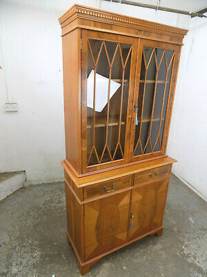 bookcase,glazed doors,drawers,shelves,cabinet,cupboard,lock,antique,repro,maple