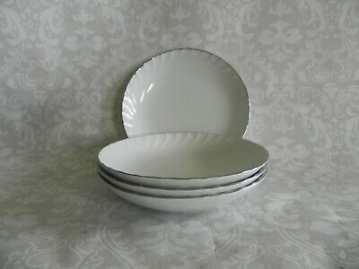 "4 Norleans China Estate Soup/Salad Bowls 7 5/8"" White Swirl Platinum Trim Japan"