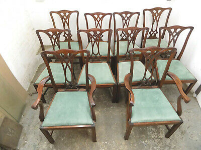 chippendale,style,dining chairs,square legs,chair,seat,10,antique,repro,mahogany