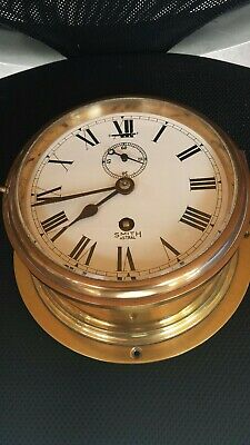 Smiths Astral Ships Clock Heavy Brass 8 Day
