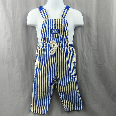 Vintage OshKosh B'gosh Striped Overalls Baby 18 Months Made In USA Union Tag