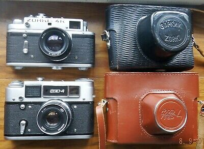CASED ZORKI 4K 50mm f2 JUPITER-8 & CASED  FED-4 53mm f2.8 RANGEFINDER CAMERAS