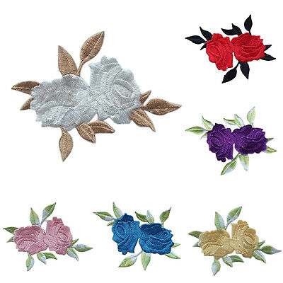 Rose Flower Leaves Embroidery Iron On Applique Patch  Q9Q