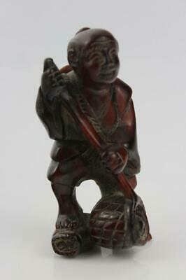 """Chinese Statue Hand-Carved """"The Ancients"""" Carving in Ox Horn 8cm High"""