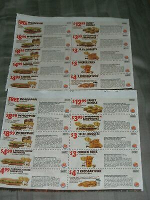 🍔🍟NEWEST ~ 2 SHEETS ~ BURGER KING COUPONS B1G1 Whopper ~ 11/17/19 ~ BEST DEAL!