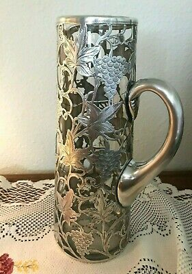 Antique Alvin Engraved Sterling Overlay Decanter / Pitcher