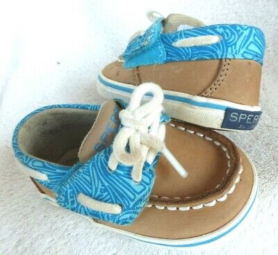 Baby Girl SPERRY Shoes Size 2M 2 Toddler Kids Turquoise Blue & Leather