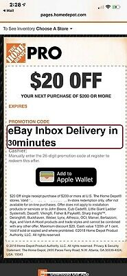 TWO 2X Home Depot $20 off $200 In-Store Only-1Coupon --FAST-SENT--
