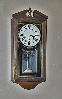 Vintage VERICHRON Wood/Glass Case PENDULUM WALL CLOCK W/ Chime