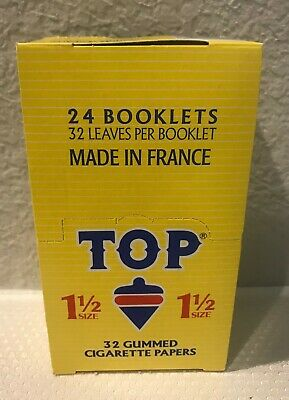 TOP 1 1/2 Rolling Papers - 24 Booklets- Fine Gummed Cigarette Papers.