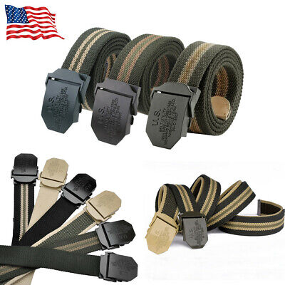 Fashion Men's Canvas Tactical Military Combat Belt Smooth Buckle Strap Waistband