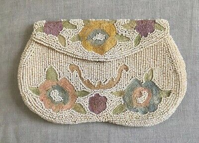 BEAUTIFUL Vintage Antique Ivory Beaded Clutch Purse W Embroidered Flowers