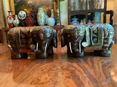 A Pair Large Chinese Antique Carved Wooden Elephants.