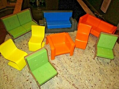 vintage Mid Century Modern dollhouse furniture funky retro Eames brady bunch