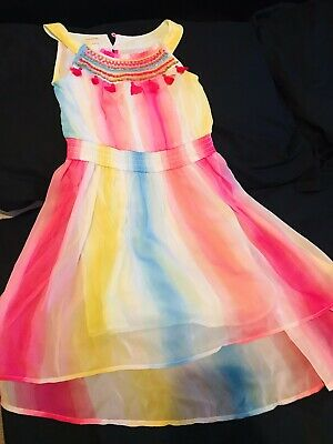MONSOON Girls Dress Age 8 Worn Once Only -Embroiderey Sequins Tassels !Stunning