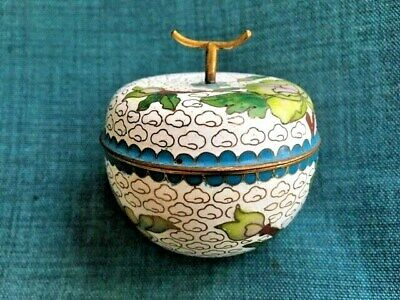 Asian Antiques, Box, Trinket, Pill, Cloisonne, Persimmon Shape, post 1940, China