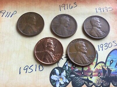 1911 1916s 1919s 1930s1951d Lincoln wheat cent cents 5 coin lot