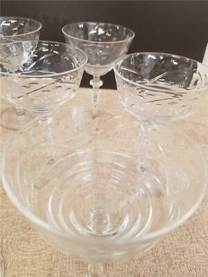8 Champagne Goblets Glasses Etched Floral Design Thin Glass Antique Cut Crystal