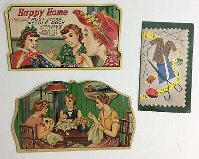 3 Vintage Happy Home Sewing Needle Books Cards Made In Japan 1950s Advertising