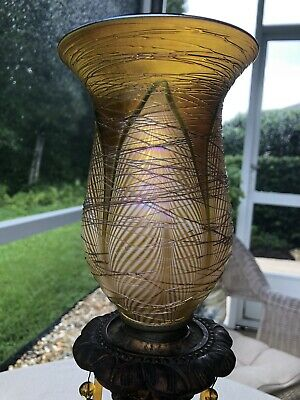 Antique C1910 Art Nouveau Lamp W/Org Durand Quezal Pulled Feather Threaded Shade