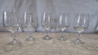 Bohemia Clear Crystal 12 oz. Etched Wine Goblet Glasses (5) pcs