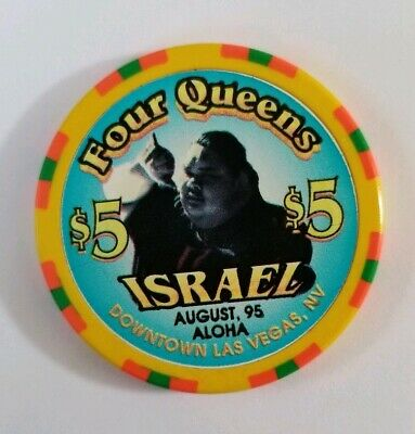 VTG RARE! Four Queens $5 Casino Chip Israel Kamakawiwoole 1995 Over the Rainbow