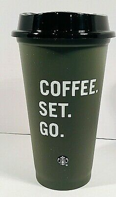 New Starbucks Reusable Hot Cup Coffee Set Go Gray w/ Black Lid Fall 2019