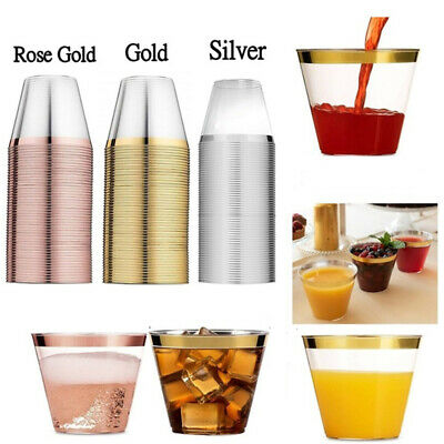 Birthday Party Wine Rose Gold Plastic Cups Tableware Disposable Transparent